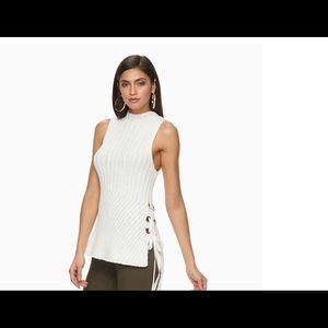 Jennifer Lopez Lace-up Sleeveless Sweater SzL